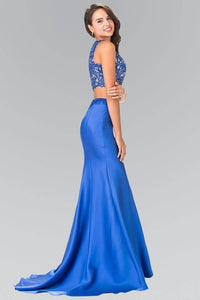 Elizabeth K GL2281 Two Piece Lace Top and Satin Skirt in Royal Blue