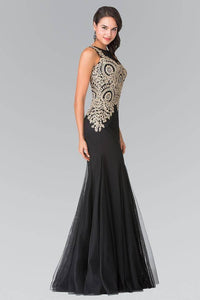 Elizabeth K GL2283 Gold Embroidered Mermaid Tulle Gown in Black