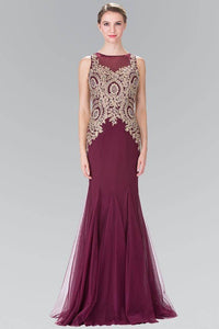 Elizabeth K GL2283 Gold Embroidered Mermaid Tulle Gown in Burgundy - SohoGirl.com
