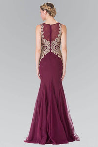 Elizabeth K GL2283 Gold Embroidered Mermaid Tulle Gown in Burgundy