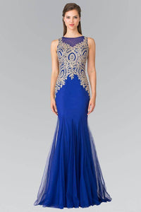 Elizabeth K GL2283 Gold Embroidered Mermaid Tulle Gown in Royal Blue