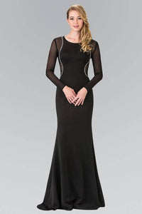 Elizabeth K GL2284 Abstract Marquee Beaded Sheer Long Sleeve Gown in Black