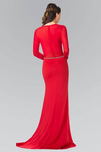 Elizabeth K GL2284 Abstract Marquee Beaded Sheer Long Sleeve Gown in Red - SohoGirl.com