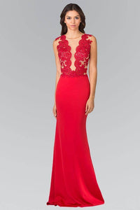 Elizabeth K GL2286 Illusion V Neck Lace Bodice Dress in Red - SohoGirl.com