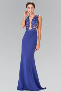 Elizabeth K GL2286 Illusion V Neck Lace Bodice Dress in Royal Blue - SohoGirl.com