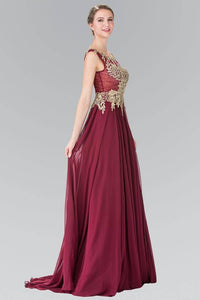 Elizabeth K GL2288 Flower Lace Chiffon Full Length Gown in Burgundy - SohoGirl.com