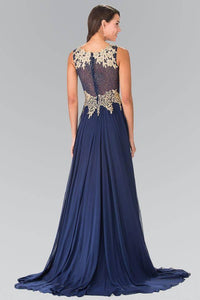 Elizabeth K GL2288 Flower Lace Chiffon Full Length Gown in Navy - SohoGirl.com
