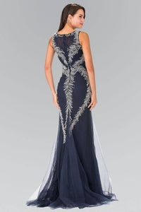Elizabeth K GL2289 Beaded Feather Mermaid Dress in Navy - SohoGirl.com