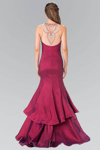Elizabeth K GL2290 Jeweled Faux Necklace Illusion Sweetheart Two Tiered Dress in Burgundy