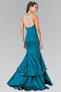 Elizabeth K GL2290 Jeweled Faux Necklace Illusion Sweetheart Two Tiered Dress in Teal