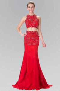 Elizabeth K GL2291 Silver Jeweled Embellished FLoral Lace Long Two Piece Dress in Red - SohoGirl.com