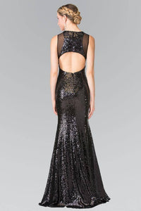 Elizabeth K GL2292 Full Sequin Curvy Illusion Cut Out Long Gown in Black
