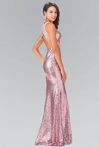 Elizabeth K GL2292 Full Sequin Curvy Illusion Cut Out Long Gown in Dusty Rose