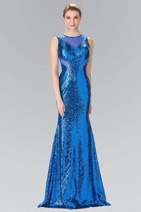 Elizabeth K GL2292 Full Sequin Curvy Illusion Cut Out Long Gown in Royal Blue