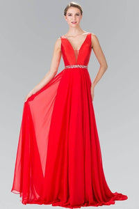 Elizabeth K GL2293 Illusion V Neck Long Gown with Belted Waist in Red - SohoGirl.com