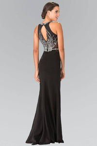 Elizabeth K GL2294 Mosaic Bead Embellished Side Cut Out Long Dress in Black