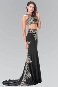 Elizabeth K GL2296 Blue Threaded Oriental Embroidery Two Piece Gown in Black - SohoGirl.com