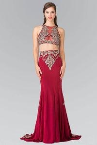 Elizabeth K GL2296 Blue Threaded Oriental Embroidery Two Piece Gown in Burgundy - SohoGirl.com