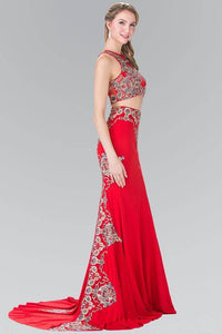 Elizabeth K GL2296 Blue Threaded Oriental Embroidery Two Piece Gown in Red