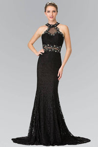 Elizabeth K GL2297 Beaded Halter Neck Illusion Cut Out Lace Dress in Black - SohoGirl.com