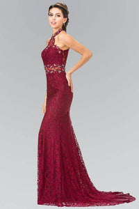 Elizabeth K GL2297 Beaded Halter Neck Illusion Cut Out Lace Dress in Burgundy