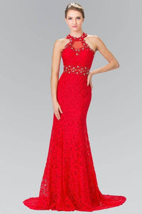 Elizabeth K GL2297 Beaded Halter Neck Illusion Cut Out Lace Dress in Red - SohoGirl.com
