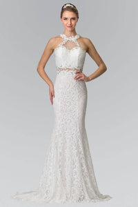 Elizabeth K GL2297 Beaded Halter Neck Illusion Cut Out Lace Dress in White - SohoGirl.com