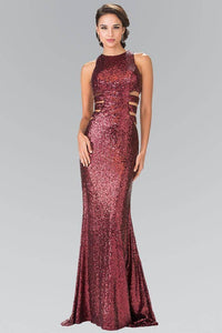 Elizabeth K GL2299 Caged Cut Out Full Sequined Long Dress in Burgundy