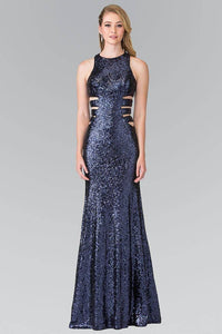 Elizabeth K GL2299 Caged Cut Out Full Sequined Long Dress in Navy