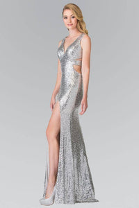 Elizabeth K GL2300 Full Sequin Long Gown with Cut Outs and Thigh Slit in Silver - SohoGirl.com
