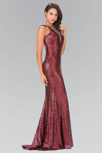 Elizabeth K GL2301 Sequined High Neck Floor Length Gown with Triangle in Burgundy - pallawashop.com