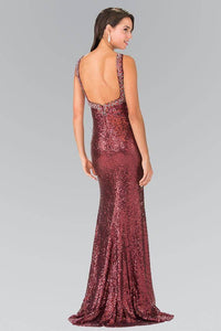 Elizabeth K GL2301 Sequined High Neck Floor Length Gown with Triangle in Burgundy