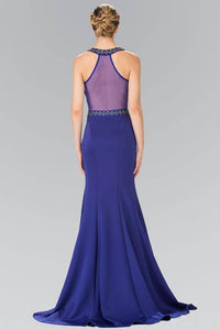 Elizabeth K GL2303 Keyhole Bead Embellished Sheer Back Mermaid Dress in Royal Blue - SohoGirl.com