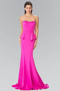 Elizabeth K GL2304 Strapless Peplum Mermaid Long Dress in Fuschia