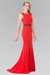 Elizabeth K GL2306 Bead Embellished Waist with Cut Out Back in Red - SohoGirl.com