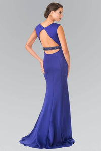 Elizabeth K GL2306 Bead Embellished Waist with Cut Out Back in Royal Blue - SohoGirl.com