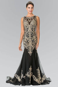 Elizabeth K GL2307 Floral Gold Embroidery Tulle Long Dress with Tail in Black