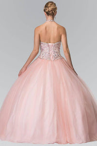 Elizabeth K GL2308 Halter Beaded Bodice Quinceanera Princess Dress in Blush
