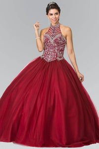 Elizabeth K GL2308 Halter Beaded Bodice Quinceanera Princess Dress in Burgundy - SohoGirl.com