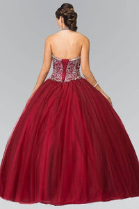 Elizabeth K GL2308 Halter Beaded Bodice Quinceanera Princess Dress in Burgundy