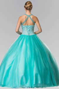 Elizabeth K GL2309 Bead Embellished Illusion Sweetheart Halter Quinceanera Gown in Aqua