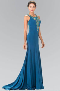 Elizabeth K GL2310 Illusion V Neck Beaded Long Mermaid Dress with Sheer Back in Teal - SohoGirl.com