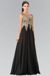 Elizabeth K GL2311 Embroidered Empire Waist Chiffon Pleated Gown in Black