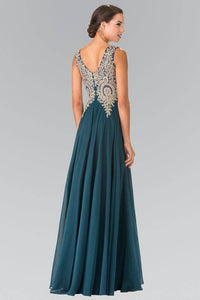 Elizabeth K GL2311 Embroidered Empire Waist Chiffon Pleated Gown in Teal