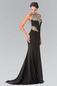 Elizabeth K GL2312 Embroidered Bodice Open Keyhole Back Floor Length Mermaid Gown in Black - SohoGirl.com