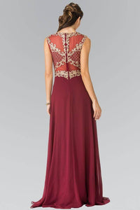 Elizabeth K GL2316 Baroque Embroidery A-Line Chiffon Overlay Long Dress in Burgundy