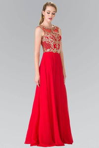 Elizabeth K GL2316 Baroque Embroidery A-Line Chiffon Overlay Long Dress in Red - SohoGirl.com