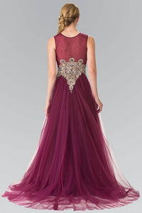 Elizabeth K GL2317 Jeweled Pinwheel Embroidery Tulle Princess Dress in Plum - SohoGirl.com