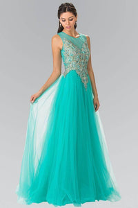 Elizabeth K GL2317 Jeweled Pinwheel Embroidery Tulle Princess Dress in Tiffany