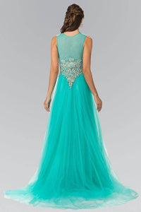 Elizabeth K GL2317 Jeweled Pinwheel Embroidery Tulle Princess Dress in Tiffany - SohoGirl.com